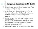 benjamin franklin 1706 17901