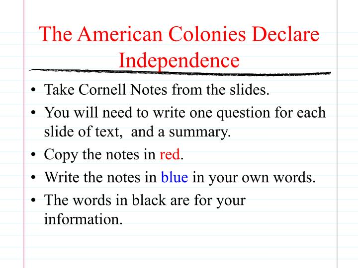 the american colonies declare independence n.
