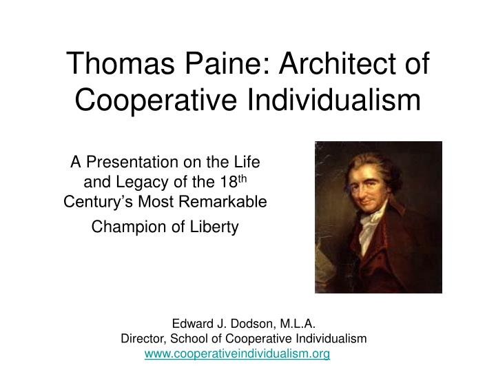 thomas paine architect of cooperative individualism n.