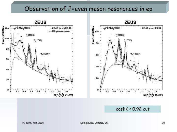 Observation of J=even meson resonances in ep