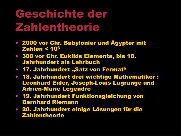 Geschichte der Zahlentheorie