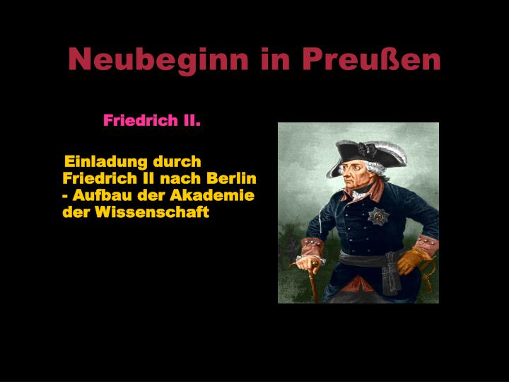 Neubeginn in Preußen