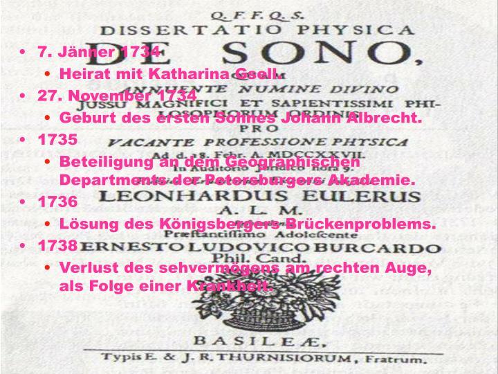 7. Jänner 1734