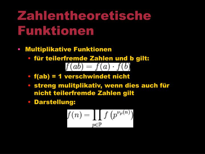 Zahlentheoretische Funktionen