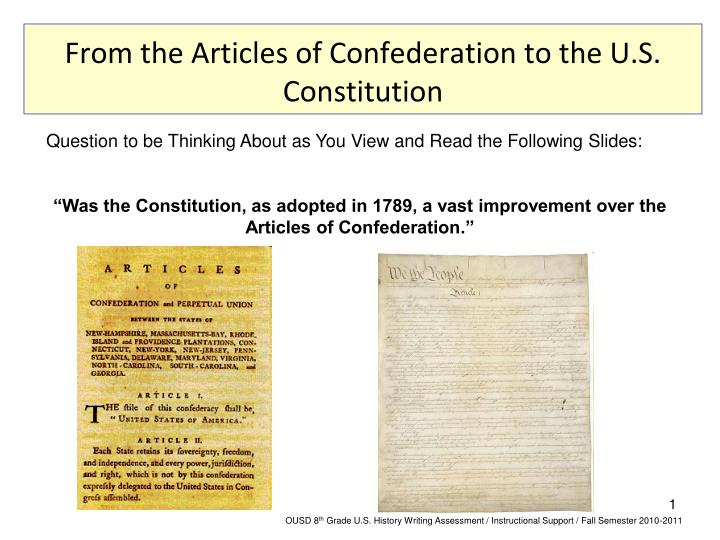 an analysis of the articles of confederation from americas thinkers and writers Handout f: articles of confederation one-pager provides a summary of the strengths and weaknesses of america's first constitution, the articles of confederation use handout f along with.
