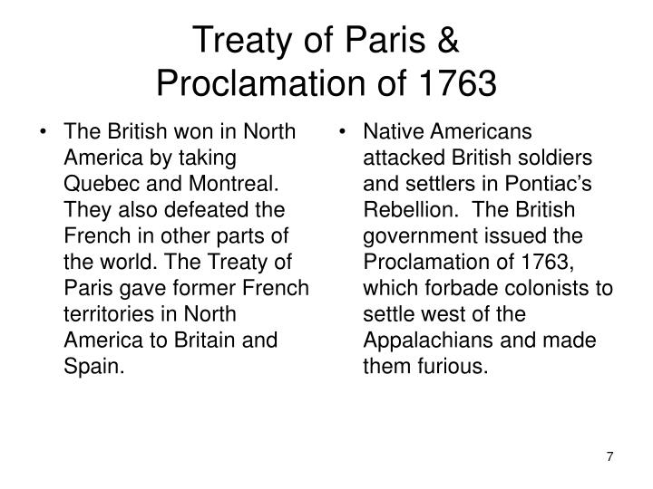 The British won in North America by taking Quebec and Montreal.  They also defeated the French in other parts of the world. The Treaty of Paris gave former French territories in North America to Britain and Spain.