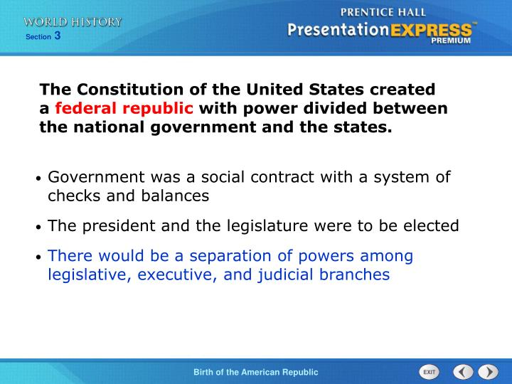 The Constitution of the United States created