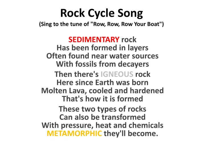 rock cycle song sing to the tune of row row row your boat n.