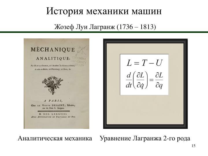 История механики машин