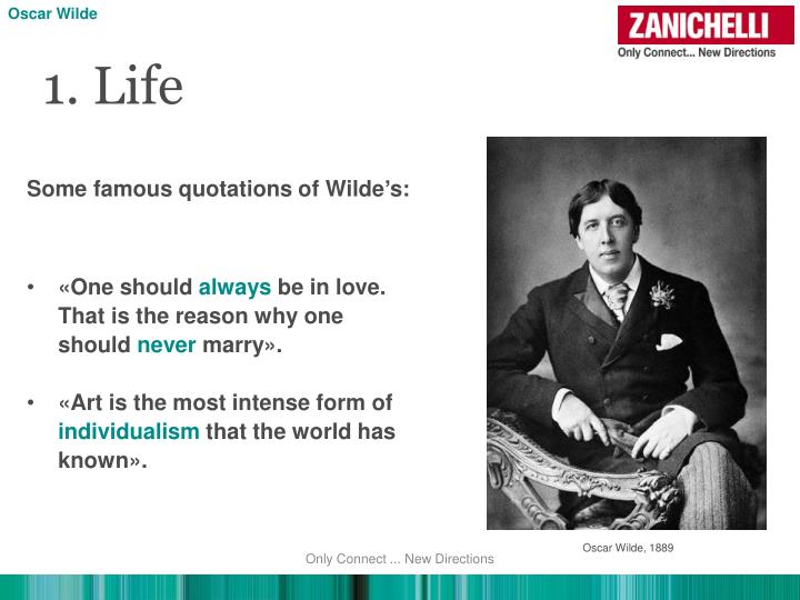 the oscar wildes advice on the worlds enhancement Oscar wilde is one of the most famous 19th century authors and playwrights, having written such works as the picture of dorian gray and the importance of being earnest what is less known about him is that, after years of flirting with the church, he had a death bed conversion to catholicism.