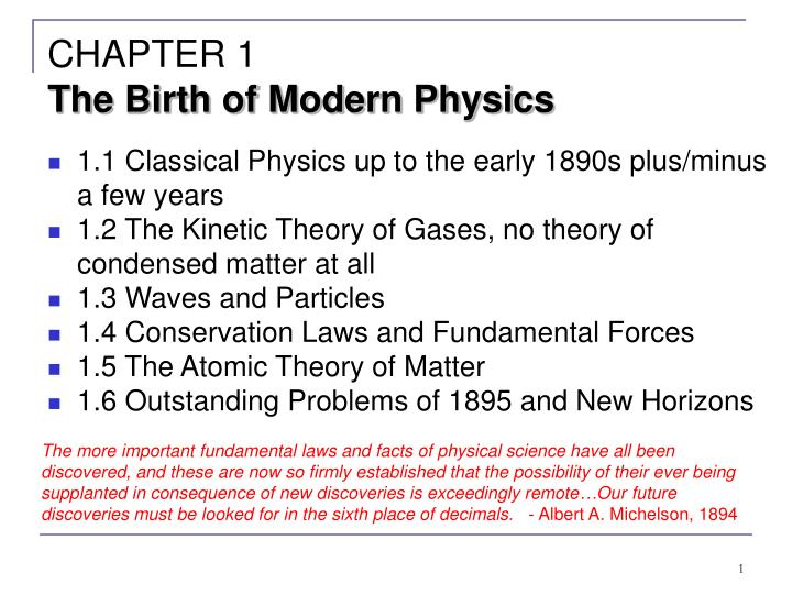 chapter 1 the birth of modern physics n.