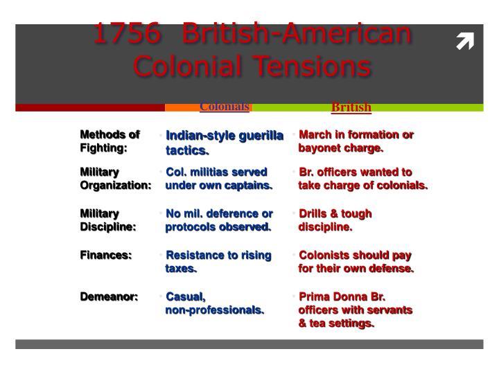 1756  British-American Colonial Tensions