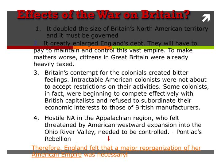 Effects of the War on Britain?