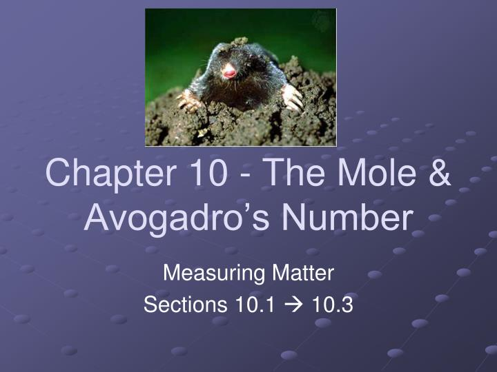 chapter 10 the mole avogadro s number n.