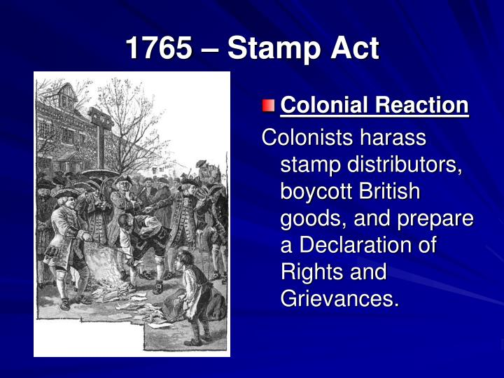 1765 Stamp Act Colonial Reaction