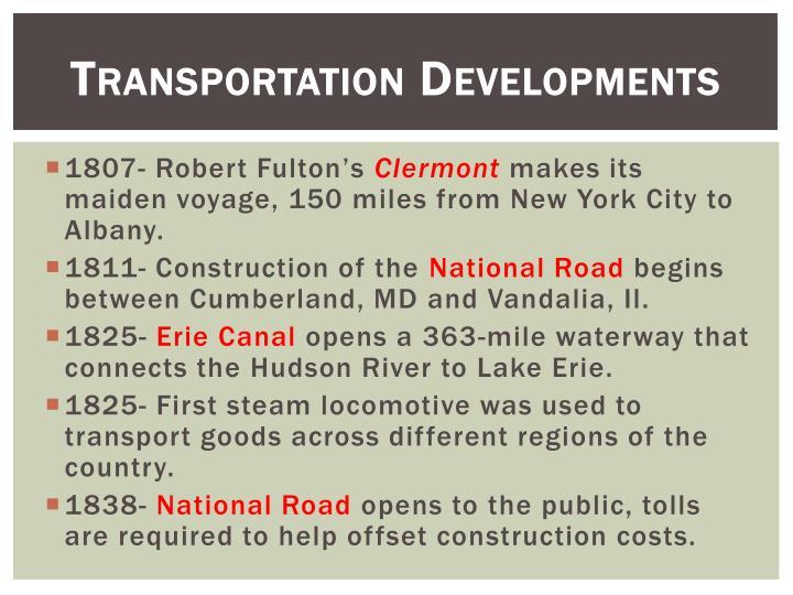 Transportation Developments