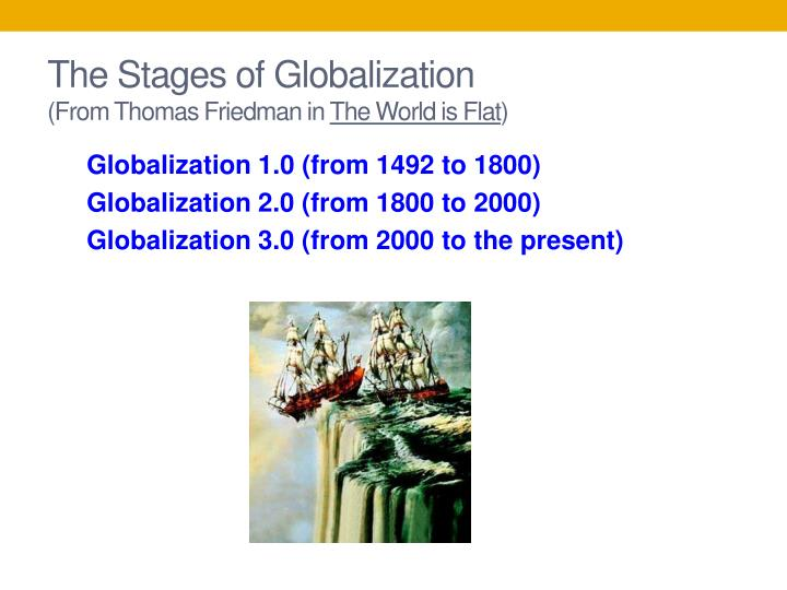 "thomas friedman three stages of globalization In today's extremely globalized world, it is imperative to consider any marketing and sales strategy from a cultural perspective thomas friedman, in his book, the world is flat outlines three stages of globalization he writes ""in globalization 10, which began around 1492, the world went from."