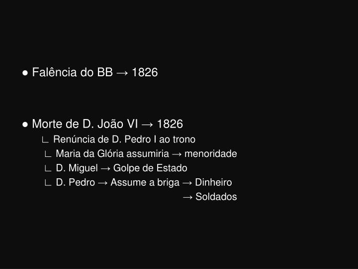 ● Falência do BB → 1826