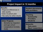 project impact in 12 months