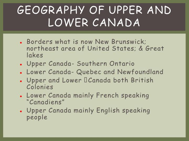 Geography of upper and lower canada