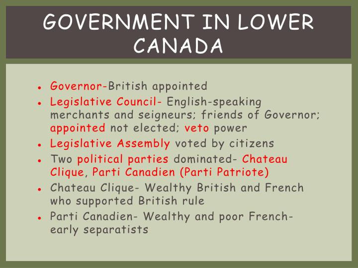 Government in Lower Canada