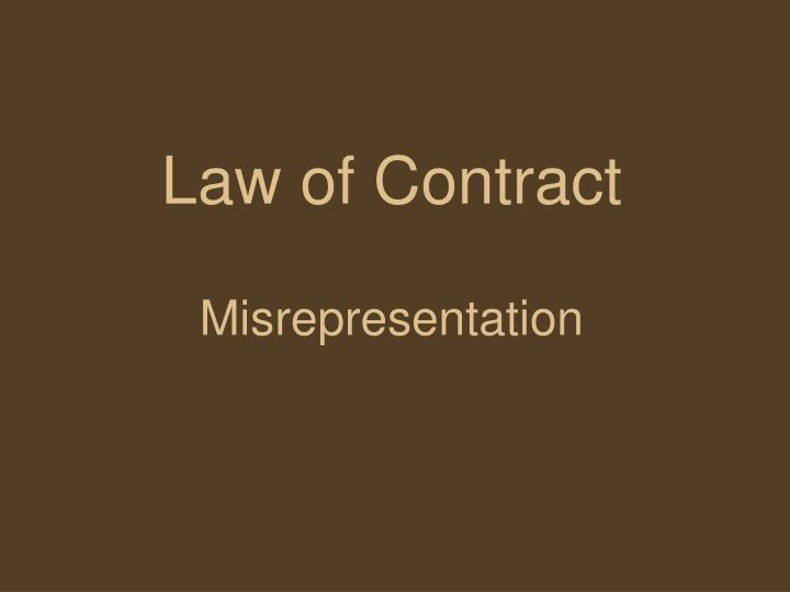 law of contract misrepresentation n.