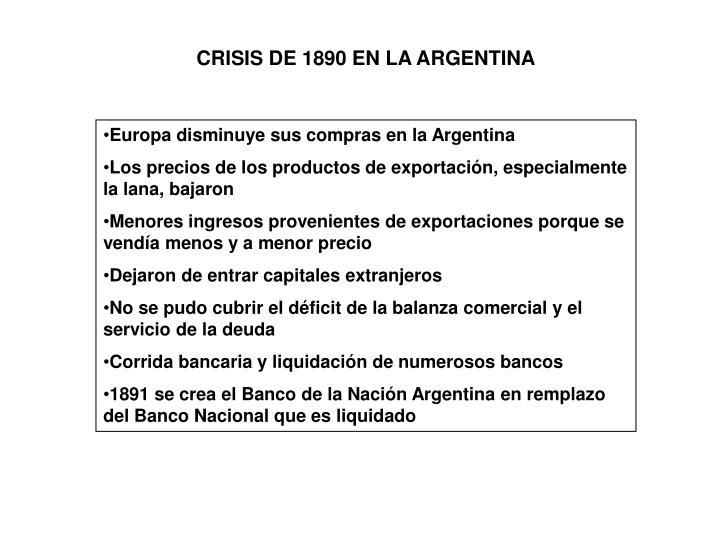 CRISIS DE 1890 EN LA ARGENTINA