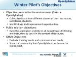 winter pilot s objectives