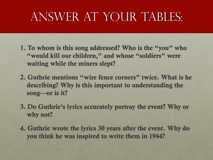 Answer at your tables: