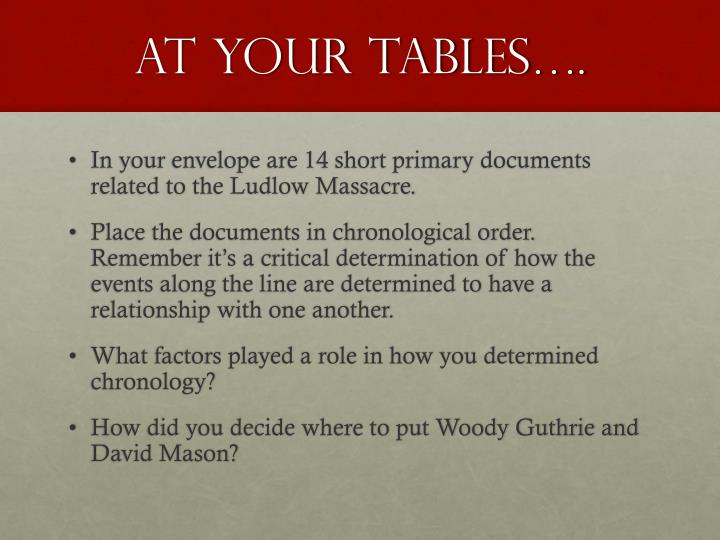 At your tables….