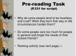 pre reading task p 331 for script