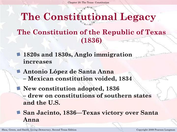 an overview of the constitution of the state of texas Under the mexican constitution of 1824, texas was joined politically to the state of coahuila, giving texas a minority voice in its government in 1836, following a brief war between the american settlers in texas and the mexican government, the independent republic of texas was proclaimed with sam houston as president.