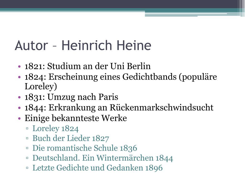 Ppt Ich Weiß Nicht Heinrich Heine Powerpoint Presentation