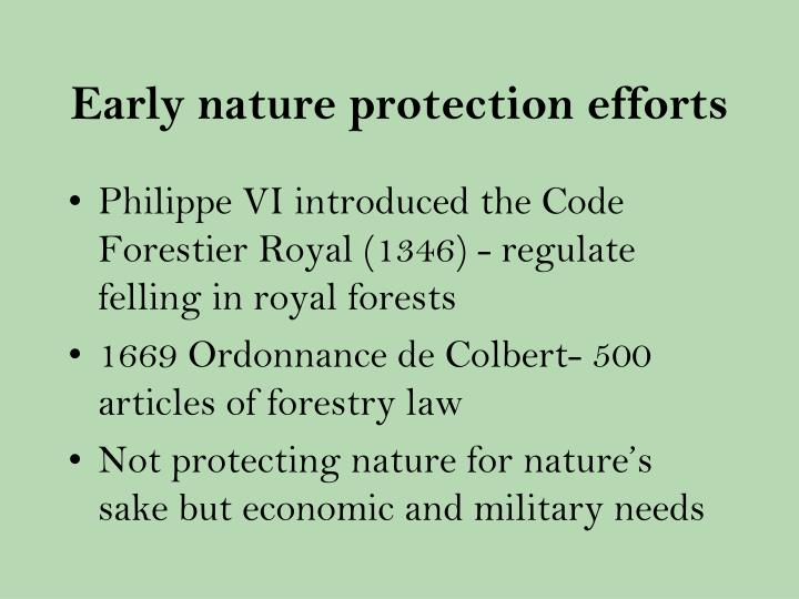 Early nature protection efforts