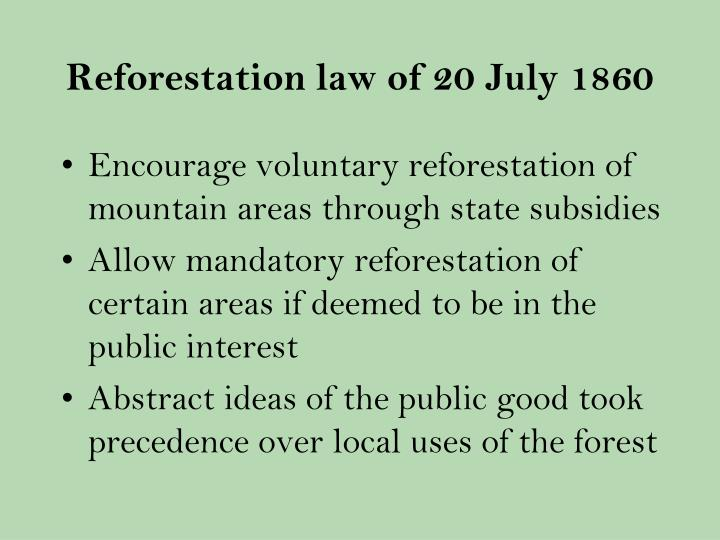 Reforestation law of 20 July 1860