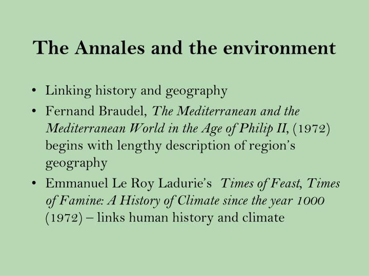 The Annales and the environment
