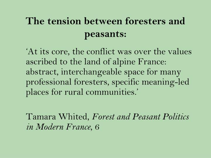 The tension between foresters and peasants: