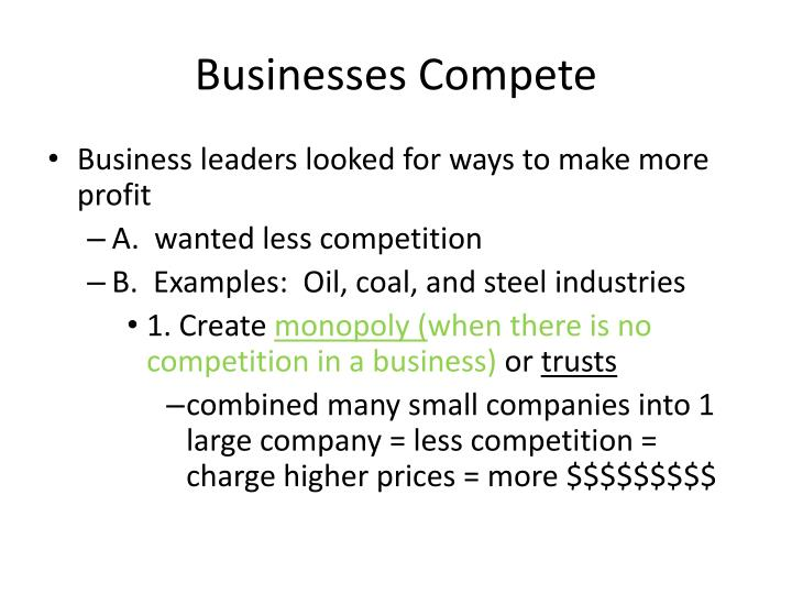 Businesses Compete