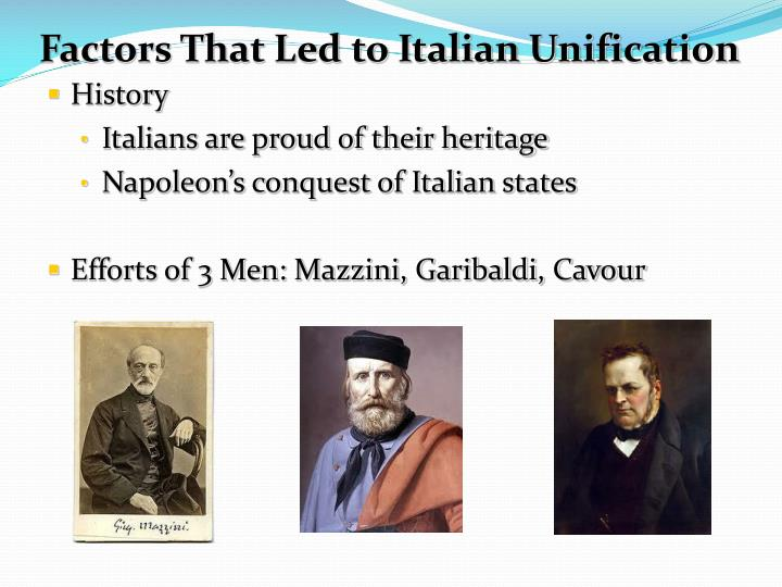 to what extent was cavour the architect of the italian unification Italian vs german unification the 1800s were a time of great political developments for europe the shattered nations of previous centuries came under the unified, controlled leadership of strong figureheads and diplomats such as otto von bismarck of germany and count camillo cavour of italy.