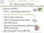 iii mechanical parts