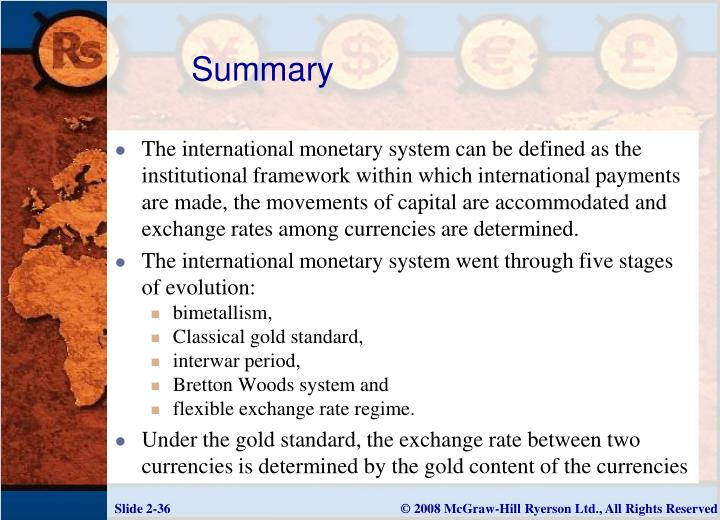 stages of international monetary system
