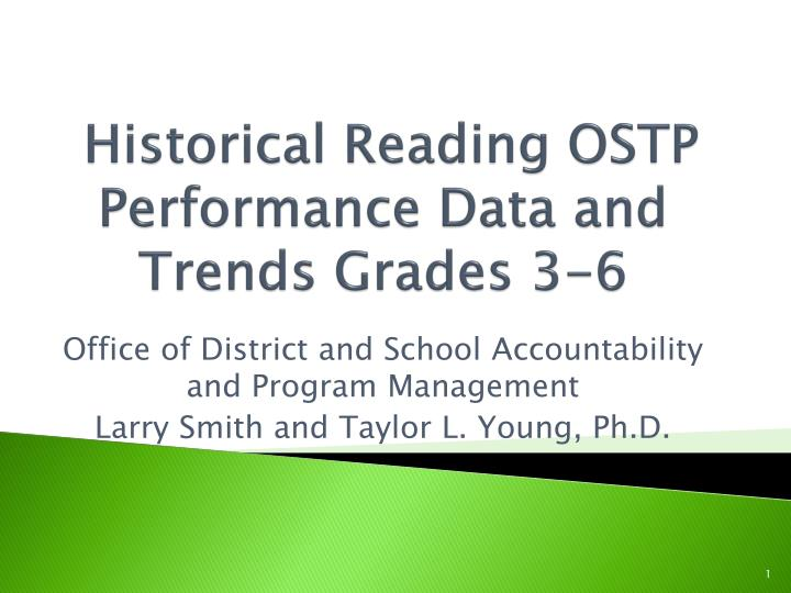 Historical reading ostp performance data and trends grades 3 6