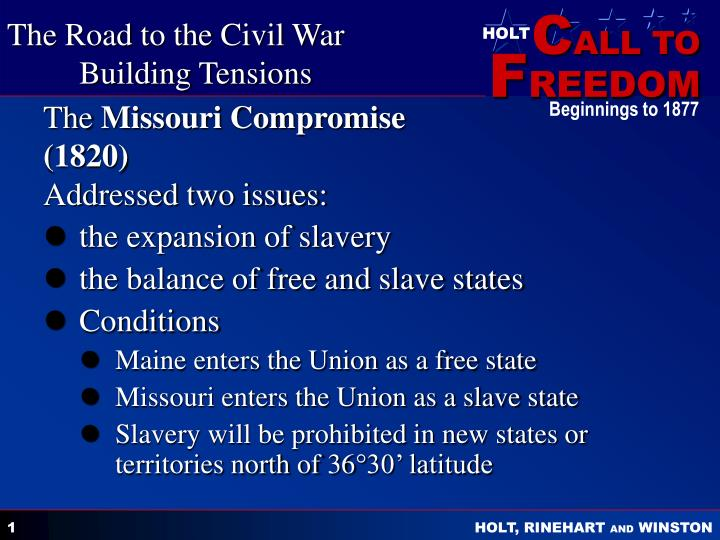 the missouri compromise 1820 addressed two issues n.