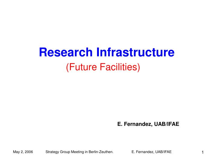 research infrastructure n.
