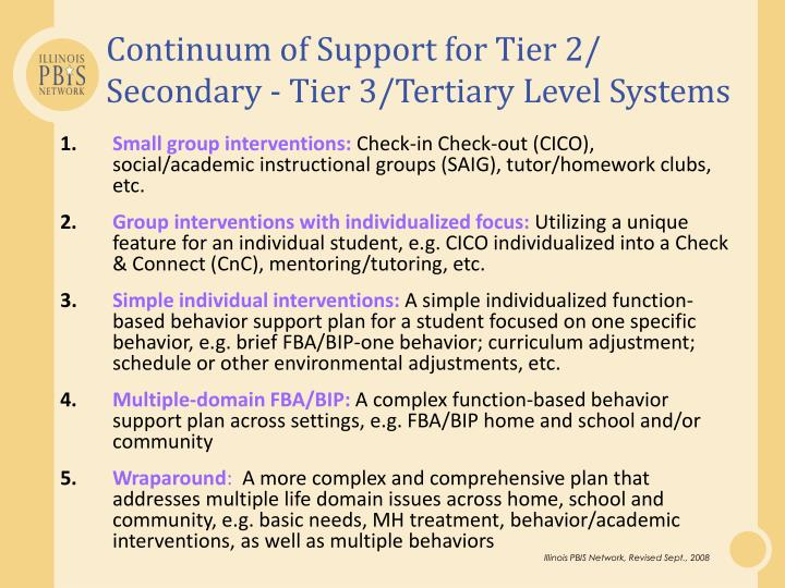 Continuum of Support for