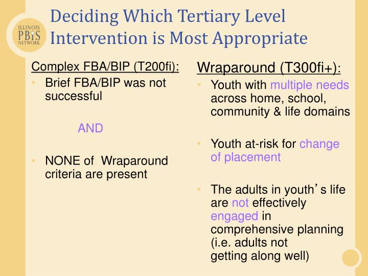 Deciding Which Tertiary Level Intervention is Most Appropriate