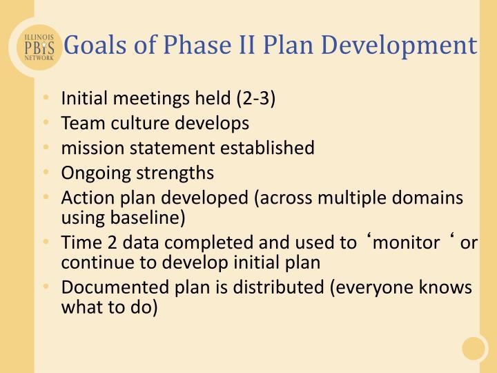 Goals of Phase II Plan Development