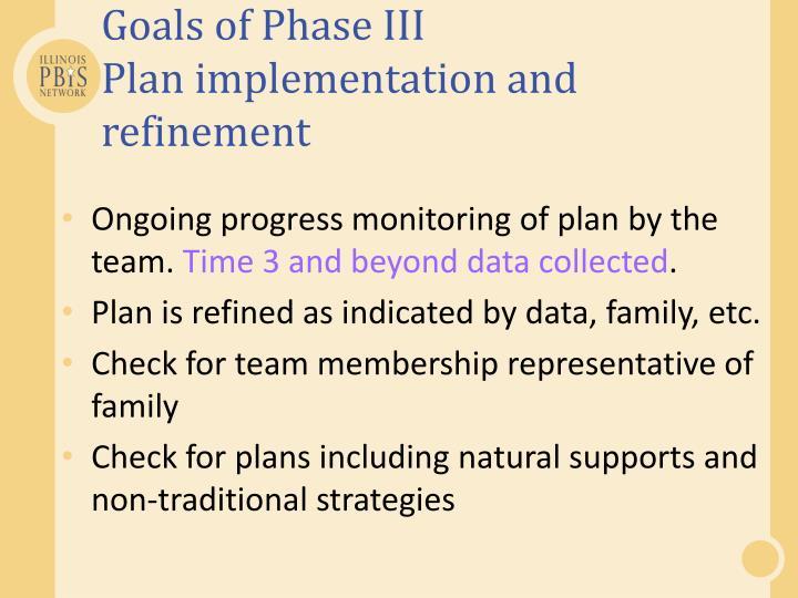Goals of Phase III
