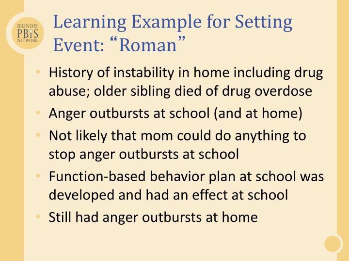 Learning Example for Setting Event: