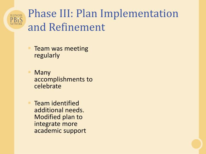 Phase III: Plan Implementation and Refinement